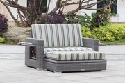 All Weather Outdoor/Indoor Wicker Loveseat with Ottoman on Sale