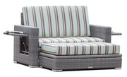 All Weather Patio Wicker Love Seat with Storage Ottoman