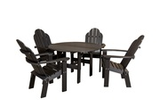 Valentine's Sale - All Weather Outdoor Dining Table with Deck Chairs
