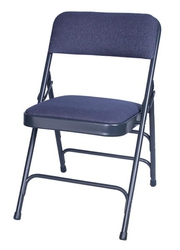 Blue Fabric Metal Folding Chair